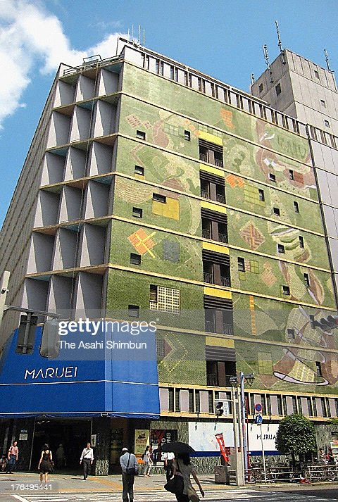 The west facade of Maruei department store decorated with mossaic tiles is seen on August 5, 2013 in Nagoya, Aichi, Japan. The building, designed by Togo Murano, won an Architectural institute of Japan Award in 1953 and is open for public view during the Aichi Triennale 2013 held from August 10, 2013 to October 27, 2013.
