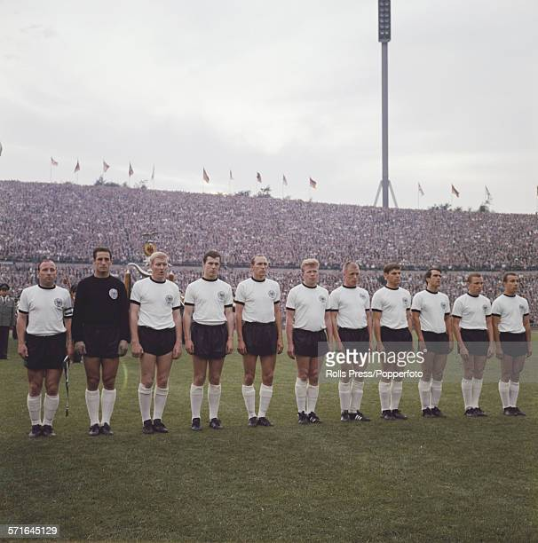 The West Germany national football team line up on the pitch before an international friendly game against Yugoslavia in Germany on 23rd June 1966...