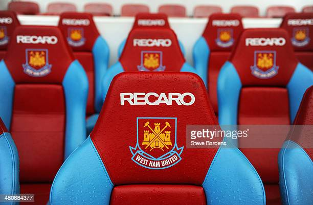 The West Ham crest and logo is seen on the dug out seats ahead of the Barclays Premier League match between West Ham United and Hull City at Boleyn...