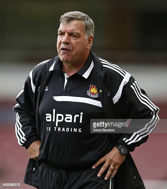 The West Ham United manager Sam Allardyce during the preseason friendly match between West Ham United and Sampdoria at Boleyn Ground on August 9 2014...