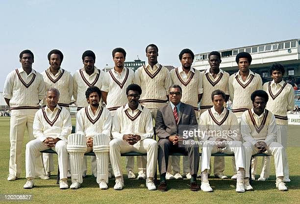 The West Indies cricket team in Manchester for the Prudential World Cup match against Sri Lanka at Old Trafford 7th June 1975 West Indies won by nine...