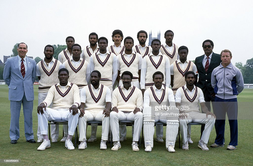 The West Indies cricket team prior to their match against Worcestershire at New Road in Worcester 19th May 1984 Back row Gus Logie Thelston Payne...