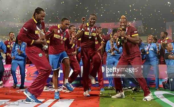 The West Indies lift the ICC World T20 trophy after winning the ICC World Twenty20 India 2016 Final between England and the West Indies at Eden...