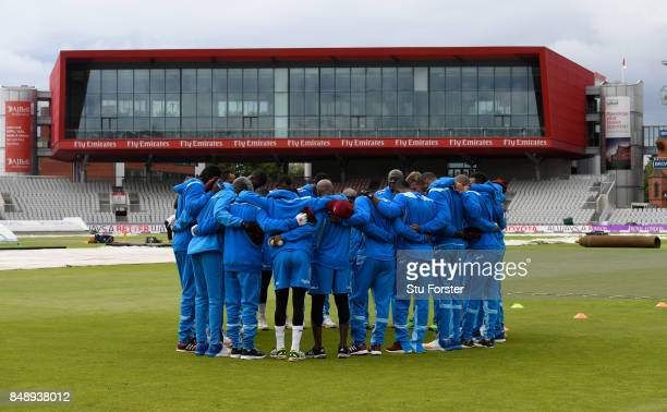 The West Indies team huddle during their net session ahead of the Royal London Trophy against England at Old Trafford on September 18 2017 in...