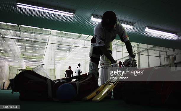 The West Indies team prepares for an indoor nets session at the County Ground on May 3 2012 in Hove England