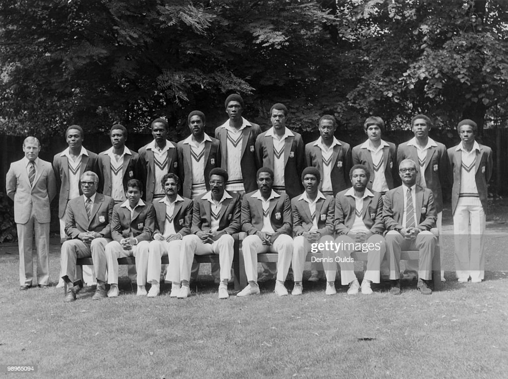 The West Indies touring team, 20th June 1980. Back row, left to right: physio D.J. Waight, Desmond Haynes, Malcolm Marshall, Collis King, <a gi-track='captionPersonalityLinkClicked' href=/galleries/search?phrase=Michael+Holding&family=editorial&specificpeople=532045 ng-click='$event.stopPropagation()'>Michael Holding</a>, Joel Garner, Colin Croft, D Parrey, Faoud Bacchus, Gordon Greenidge and David Murray. Front row, left to right: manager Clyde Walcott, Alvin Kallicharran, Deryck Murray, <a gi-track='captionPersonalityLinkClicked' href=/galleries/search?phrase=Clive+Lloyd&family=editorial&specificpeople=723939 ng-click='$event.stopPropagation()'>Clive Lloyd</a> (captain), <a gi-track='captionPersonalityLinkClicked' href=/galleries/search?phrase=Viv+Richards&family=editorial&specificpeople=622151 ng-click='$event.stopPropagation()'>Viv Richards</a>, Lawrence Rowe, Andy Roberts, and assistant manager Cammie Smith.