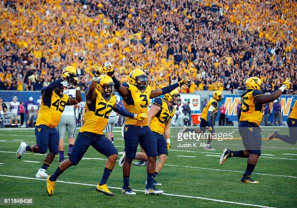 The West Virginia Mountaineers celebrate after the Kansas State Wildcats missed a 33 yard field goal during the game on October 1 2016 at Mountaineer...