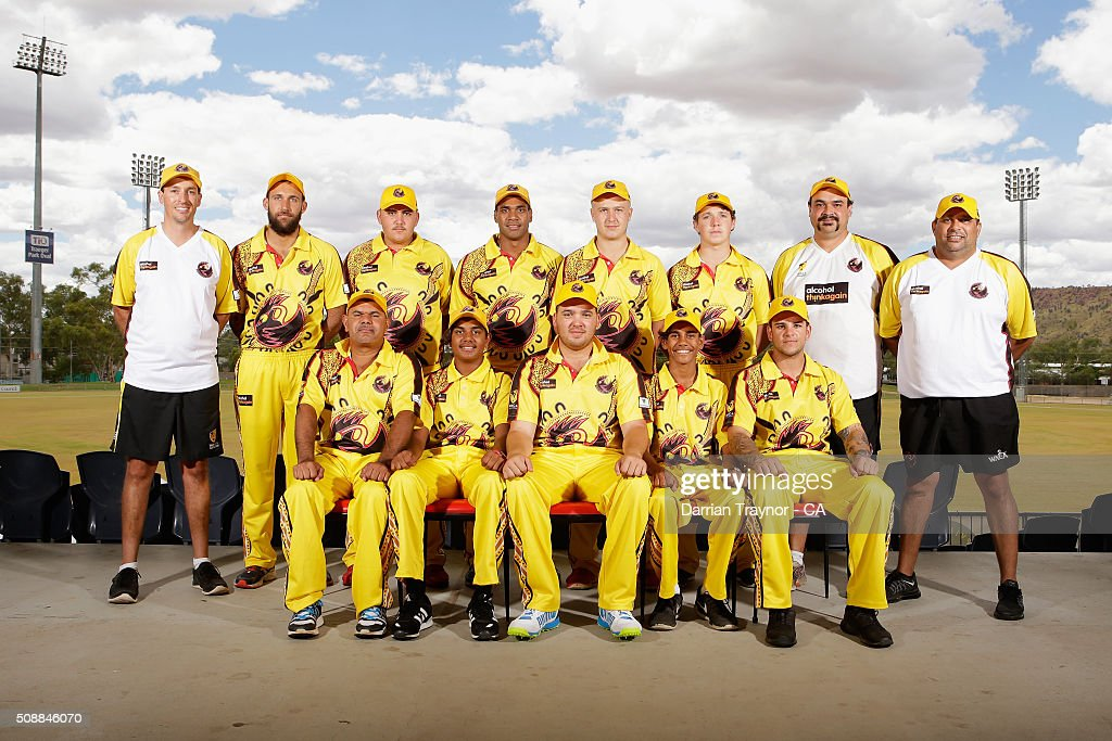 The Western Australia team pose for a photo on media day during the National Indigenous Cricket Championships on February 7, 2016 in Alice Springs, Australia.