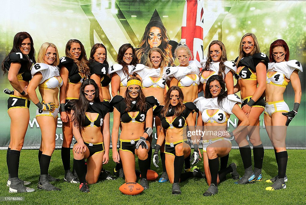 The Western Australian Angels pose for a team photo during a Legends Football League (LFL) media day at nib Stadium on June 18, 2013 in Perth, Australia.