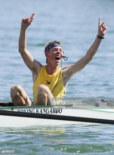 The Western Australian coxswain Patrick Riley celebrates winning the Kings Cup men's eight race during the Australian Rowing Championships held at...