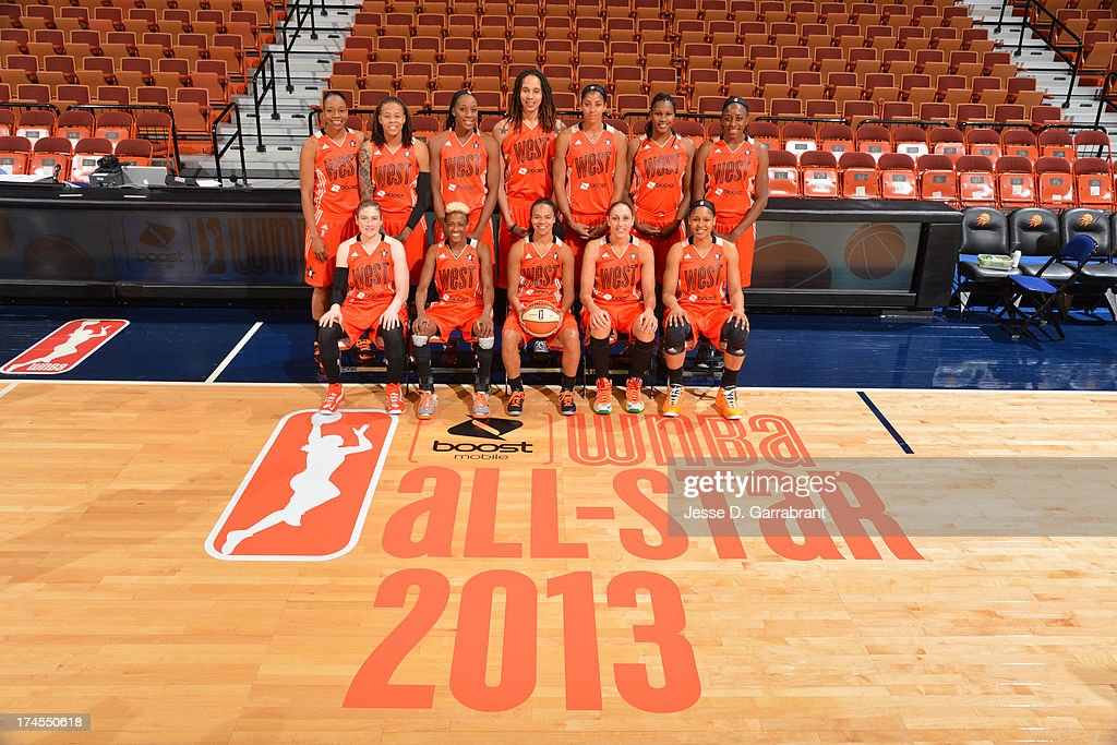 The Western Conference All-Stars pose for a photo before the 2013 Boost Mobile WNBA All-Star Game on July 27, 2013 at Mohegan Sun Arena in Uncasville, Connecticut.