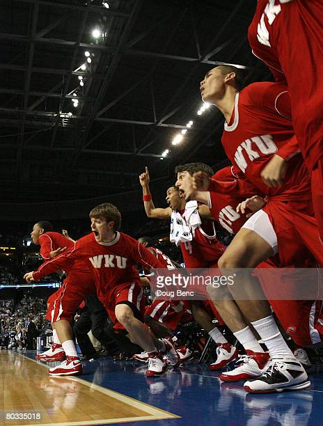 The Western Kentucky Hilltoppers bench celebrates their team's overtime win against the Drake Bulldogs in the first round of the 2008 NCAA Tournament...