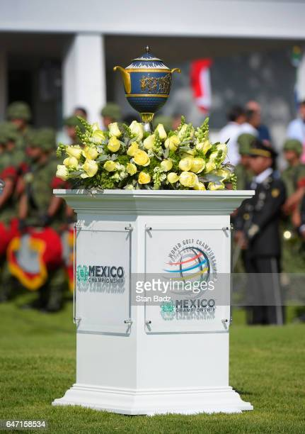 The WGCMexico Gene Sarazen trophy is displayed on the tenth hole during the first round of the World Golf ChampionshipsMexico Championship at Club de...