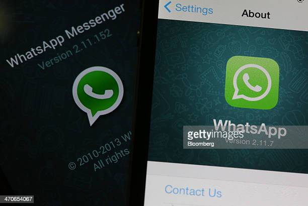 The WhatsApp Inc mobilemessaging application WhatsApp is displayed on a Samsung Electronics Co Galaxy S4 smartphone left and an Apple Inc iPhone in...