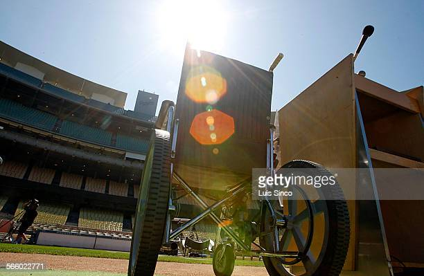 The wheelchair of the late Brooklyn Dodgers great Roy Campanella sits at home plate in Dodger Stadium on Thursday Sept 23 2010 The Dodgers held a...