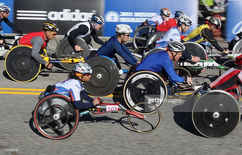 The wheelchair racers take off at the start of the 115th Boston Marathon on April 18, 2011 in Hopkinton, Massachusetts.