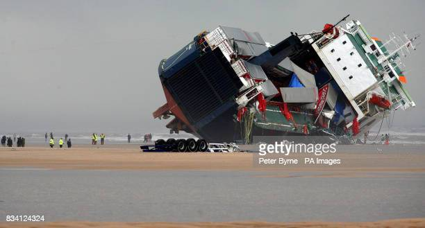 The wheels of a container lorry that has fallen from the Irish ferry 'Riverdance' that run aground in Blackpool last week