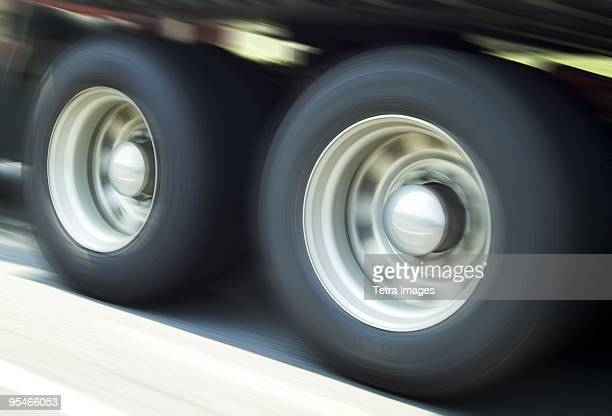 The wheels of a truck