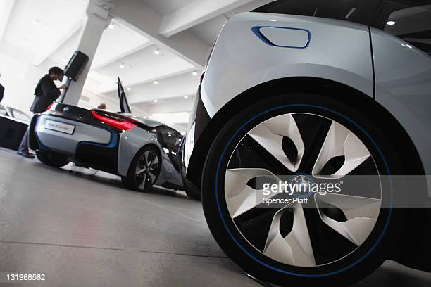 The wheels of the BMW i3 concept vehicle is displayed at a sneak preview of the car along with the BMW i8 on November 9 2011 in New York City The...