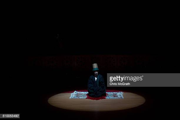The Whirling Dervishes group leader prepares to start the Sema ceremony on February 13 2016 in Konya Turkey The Sema ceremony is performed by members...