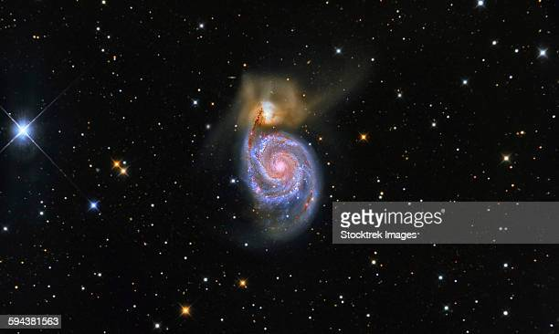 The Whirlpool Galaxy (NGC 5194), and its companion galaxy (NGC 5195), in the constellation Canes Venatici.