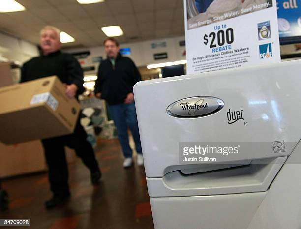 The Whirlpool logo is seen on a new clothes dryer October 28 2008 in San Francisco California The world's largest appliance maker announced February...