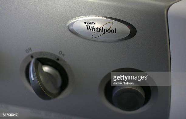The Whirlpool logo is seen on a new clothes dryer October 28 2008 in San Francisco CaliforniaThe world's largest appliance maker announced February 9...