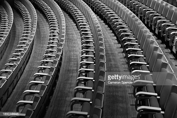 The white birch seats of the Concert Hall inside the Sydney Opera House on September 20 2013 in Sydney Australia On October 20 2013 the iconic Sydney...