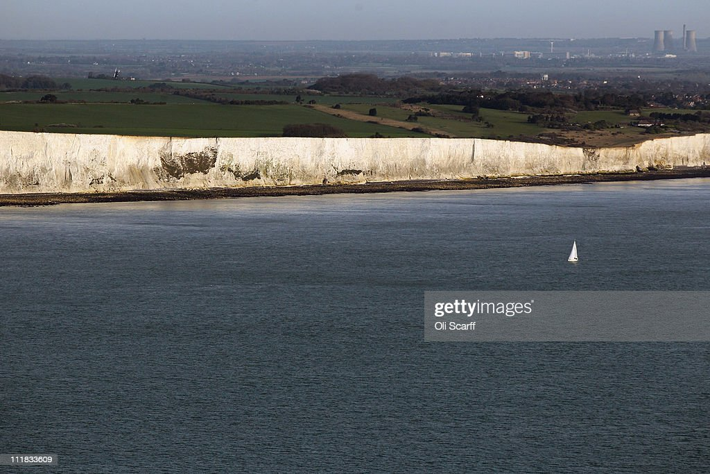 The white cliffs of Dover are seen from the air on April 7 2011 in Dover England The chalk cliffs which at points stand over 100 metres high...