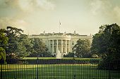 The White House in Washington DC on a spring day with vintage processing