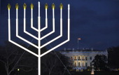 The White House is seen during the annual national Hanukkah menorah lighting ceremony on the White House Ellipse December 01 2010 in Washington DC...