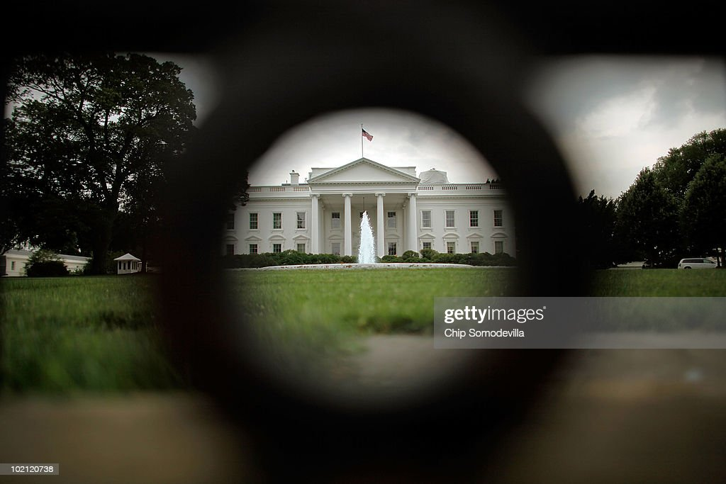 The White House is visible through the fence bordering its north side June 15, 2010 in Washington, DC. President Barack Obama will use a prime-time television address from the Oval Office tonight to tell the nation about his administration's efforts stem the economic and environmental impact of the BP Deepwater Horizon oil spill in the Gulf of Mexico.