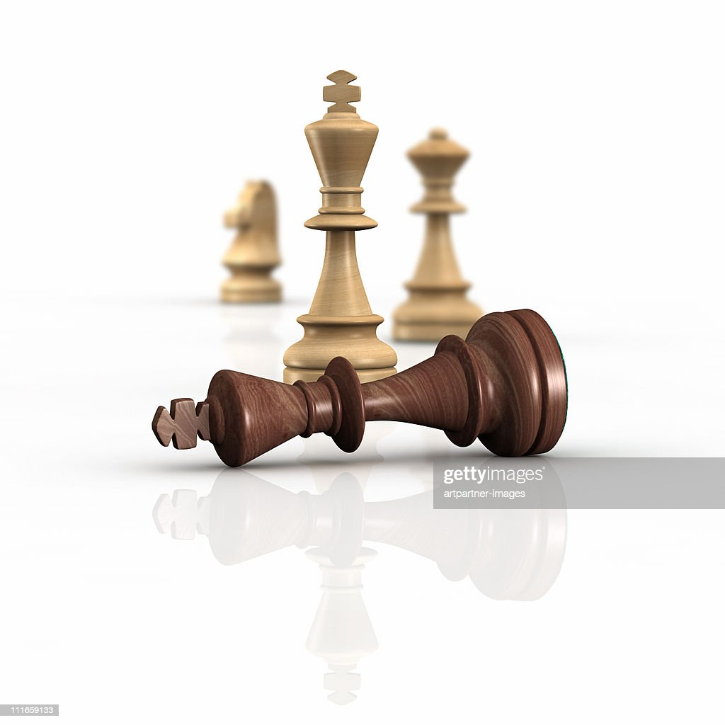 The White King beats the Black King in Chess : Stock Photo