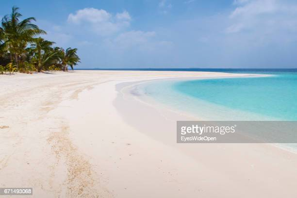 The white sandy Beaches and cristal clear turquois Ocean at Milaidhoo Island BaaAtoll on February 20 2017 in Male Maldives
