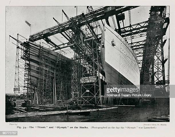 The White Star Line passenger liners Titanic and the Olympic on the day the Olympic was launched She was the largest vessel in the world until the...