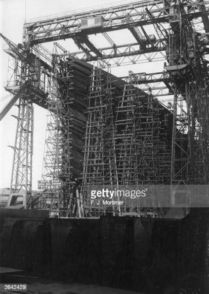 The White Star liner 'Titanic' in course of construction at the Harland and Wolff shipyard in Belfast