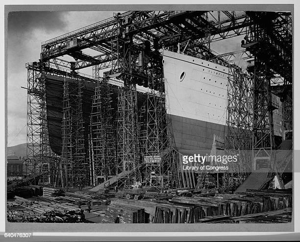 The White Star ocean liners 'RMS Olympic' and 'RMS Titanic' Being Built circa 1909
