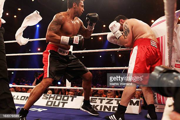 The white towel is thrown at Daniel Aminati fight against Mehrzad Marashi at 'Das Grosse Sat1 Promiboxen' at Castello on March 8 2013 in Dusseldorf...