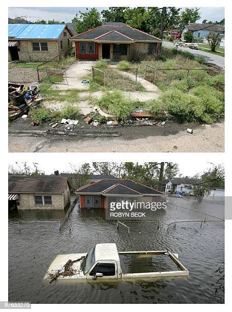 The white truck and water are gone but the house is still in disrepair and empty 07 July 2006 almost one year after Hurricane Katrina flooded the...