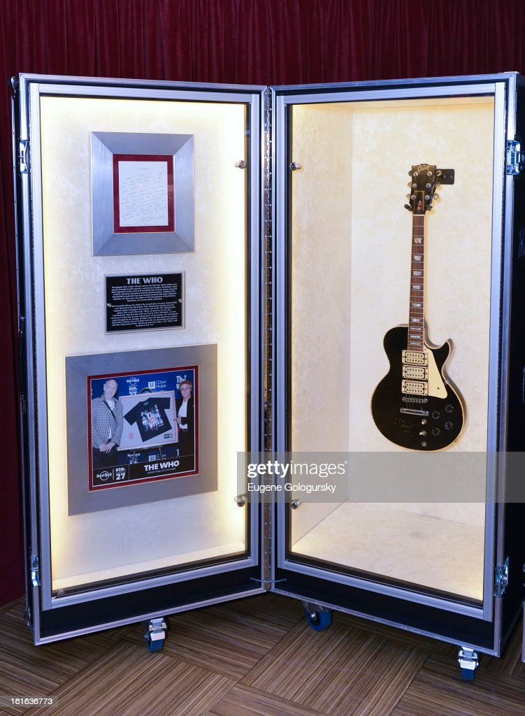 The Who memorabilia at the 'Gone Too Soon' and 'Music Gives Back' Media Preview Day at the Hard Rock Cafe, Times Square on February 13, 2013 in New York City.