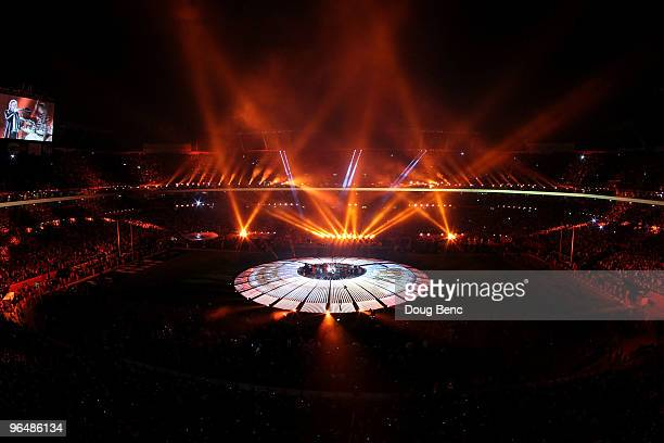 The Who perform at halftime of Super Bowl XLIV between the Indianapolis Colts and the New Orleans Saints on February 7 2010 at Sun Life Stadium in...