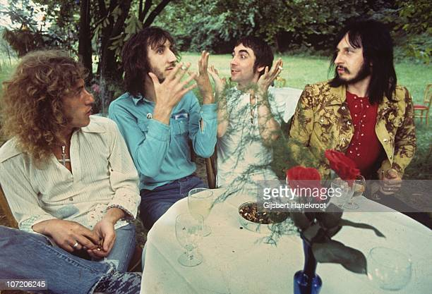 The Who pose for a group portrait during the press launch party for the 'Who's Next' album release LR Roger Daltrey Pete Townshend Keith Moon and...