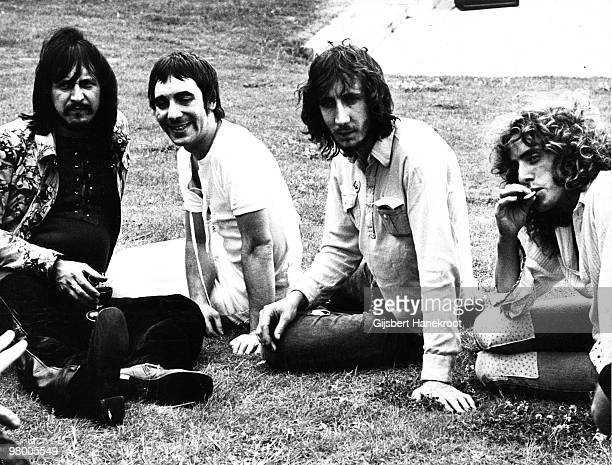 The Who posed at a press launch party for the album 'Who's Next' in Chertsey Surrey England on 15th July 1971 LR John Entwistle Keith Moon Pete...