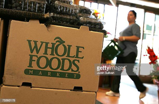 The Whole Foods logo adorns a cardboard box at a Whole Foods Market February 22 2007 in San Francisco California Whole Foods Market Inc announced...