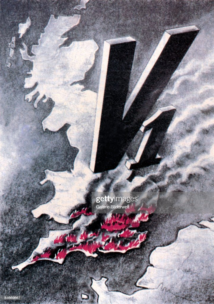 The whole south-east of England is ablaze after attacks by German V-1 flying bombs, July 1944. The rest of the caption reads 'News From The Censored British Press. What Are The Facts? Burning London Can Be Seen From The Continent!' A German flyer aimed at demoralising Allied troops in France.