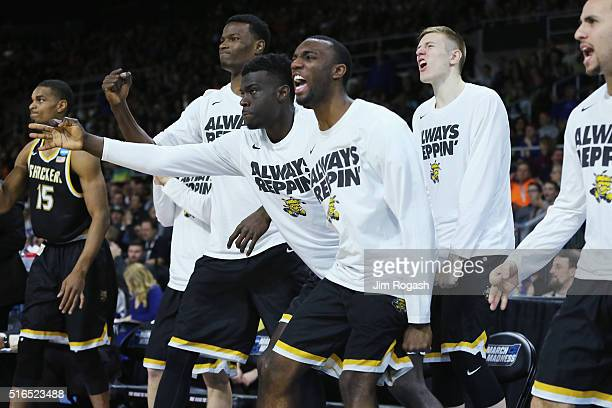 The Wichita State Shockers bench reacts in the second half against the Miami Hurricanes during the second round of the 2016 NCAA Men's Basketball...