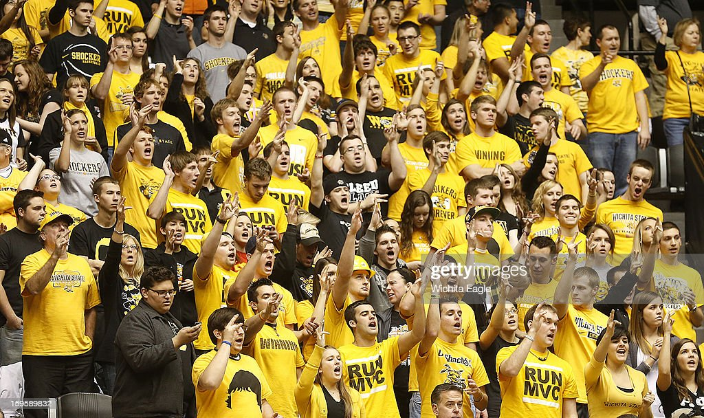 The Wichita State University student section cheers during their game against Illinois State at Koch Arena in Wichita, Kansas, on Wednesday, January 16, 2013. Wichita State won, 74-62.