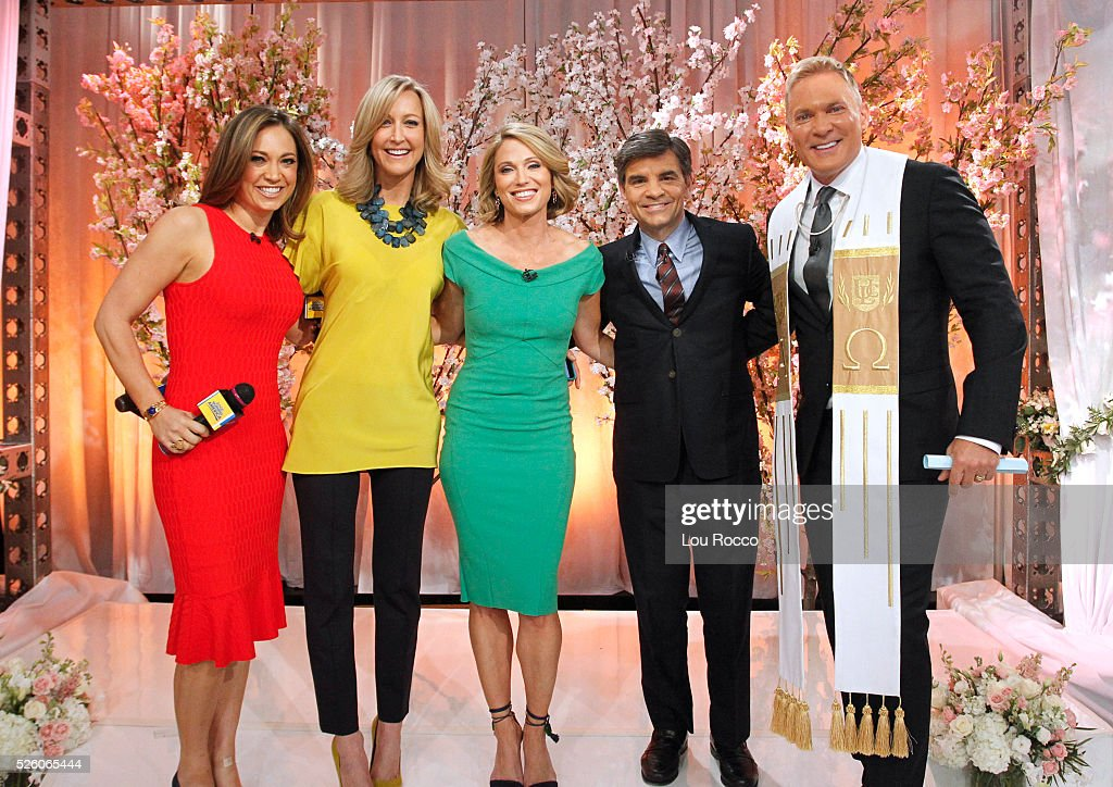 AMERICA - The Wide World of Weddings continues with a group wedding featuring 16 couples live in Times Square and a live performance by Boys II Men on 'Good Morning America,' 4/29/16, airing on the ABC Television Network. GINGER