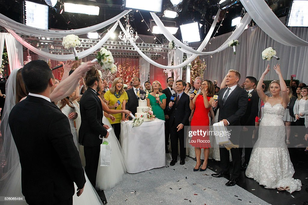 AMERICA - The Wide World of Weddings continues with a group wedding featuring 16 couples live in Times Square and a live performance by Boys II Men on 'Good Morning America,' 4/29/16, airing on the ABC Television Network. LARA