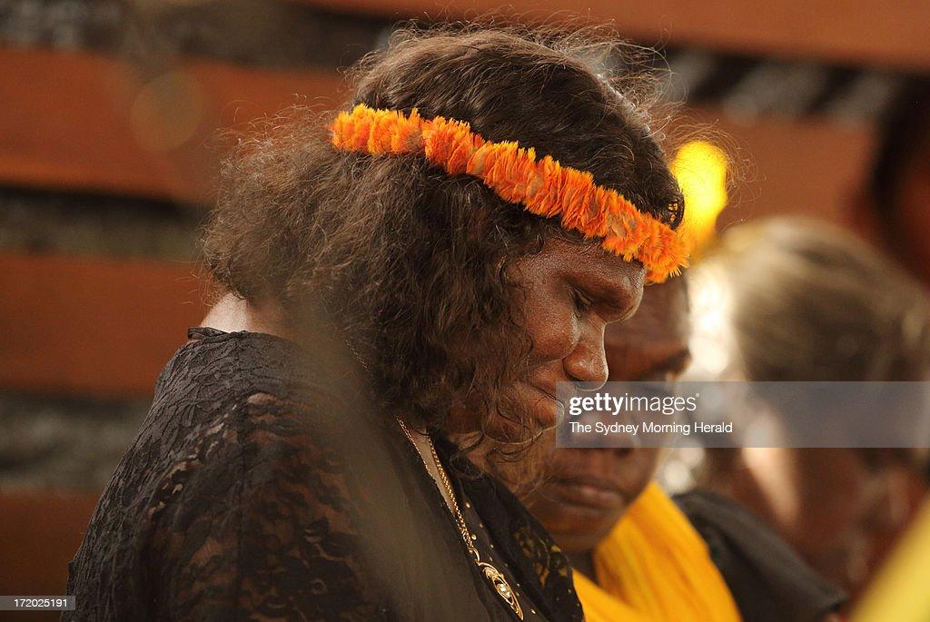 The widow of Mr Yunupingu, Yalmay Yunupingu attends the state memorial service for 'Yothu Yindi' founder Mr Yunupingu on June 30, 2013 in Gulkula, Nhulunbuy in the Northern Territory, Australia. Former Yothu Yindi singer and indigenous educator Yunupingu died almost a month ago aged 56.